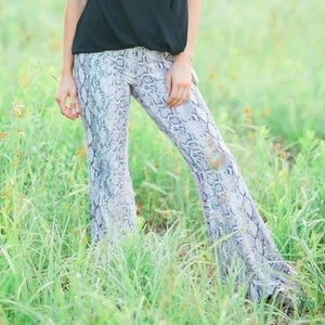 Pants - Purple Snakeskin Python Print Bell Bottoms